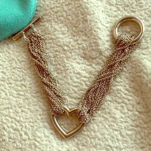 Tiffany open heart mesh toggle bracelet silver